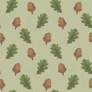 Walk in the Woods (Green) - Hand Painted Acorn & Oak Leaf Wallpaper