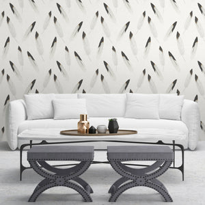 Hunley (Grey) - Hand Painted Light Grey Feather Wallpaper