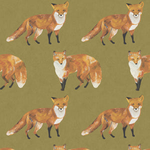Passport - Hand Painted Green Fox Wallpaper