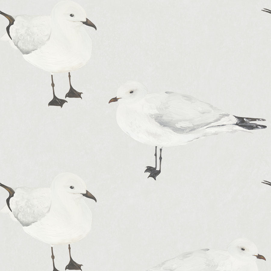 The Gare - Hand Painted White and Grey Seagull Wallpaper