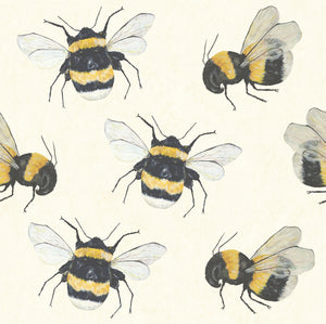 Park House (White) - Hand Painted Bumble Bee Wallpaper