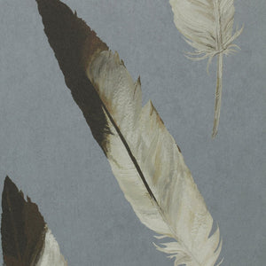 Hunley - Hand Painted Blue/Grey Gull Feather Wallpaper