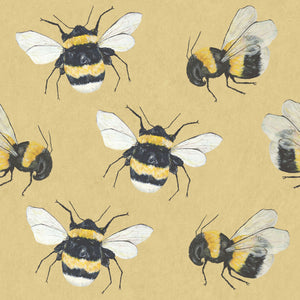 Park House (Yellow) - Hand Painted Bumble Bee Wallpaper