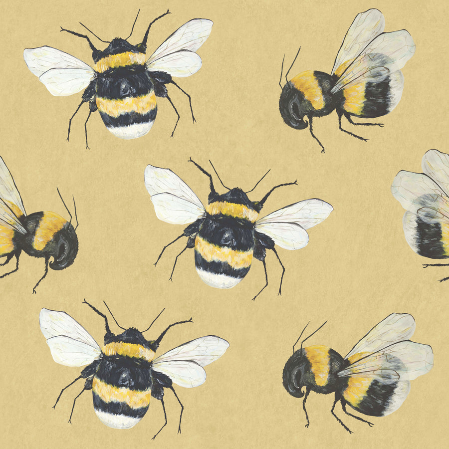 Park House  - Hand Painted Yellow Bumble Bee Wallpaper