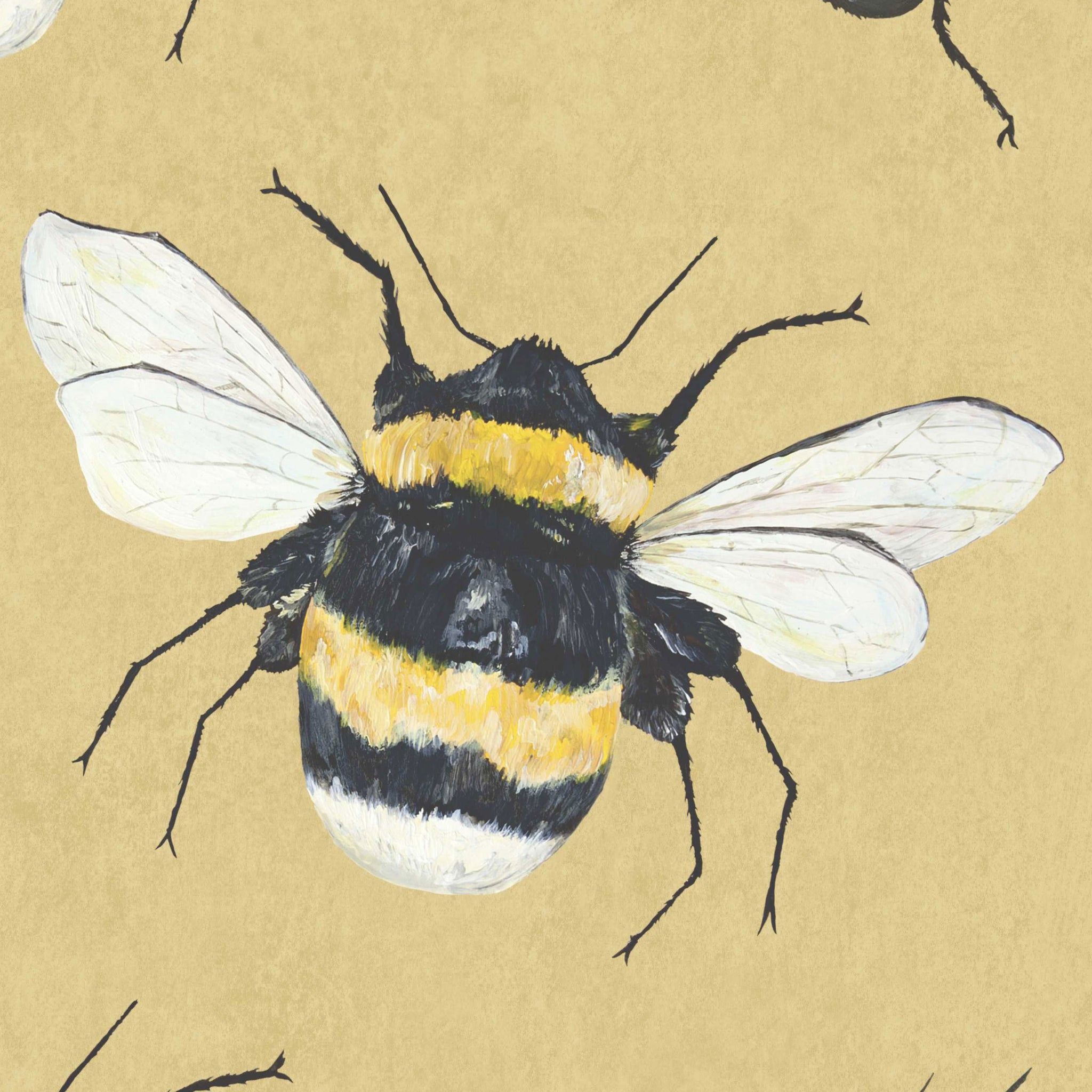 Park House Yellow Hand Painted Bumble Bee Wallpaper