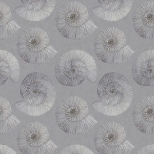 Stonegrave (Small)  - Hand Painted Grey Ammonite Fossil Wallpaper