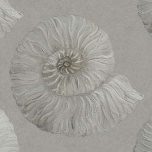 Stonegrave - Hand Painted Grey Ammonite Fossil Wallpaper