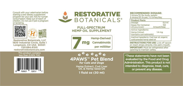 4Paws PET Blend™ Hemp Oil Extract - Restorative Botanicals