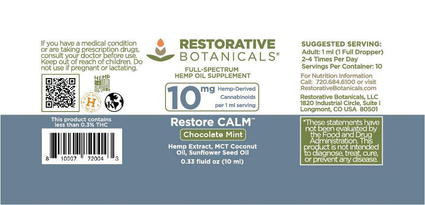 Restore CALM™ Hemp Oil Supplement - Chocolate Mint 10ml