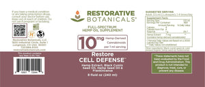 Restore CELL DEFENSE™ Hemp Oil Supplement - 10 mg/serving - Restorative Botanicals
