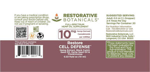 Restore CELL Defense™ Hemp Oil Supplement - 10 mg/serving - 10ml