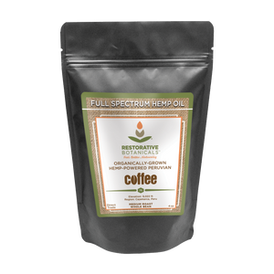 Whole Bean Peruvian Coffee Premium Medium-Roast Infused with Full-Spectrum Colorado Hemp Extract!