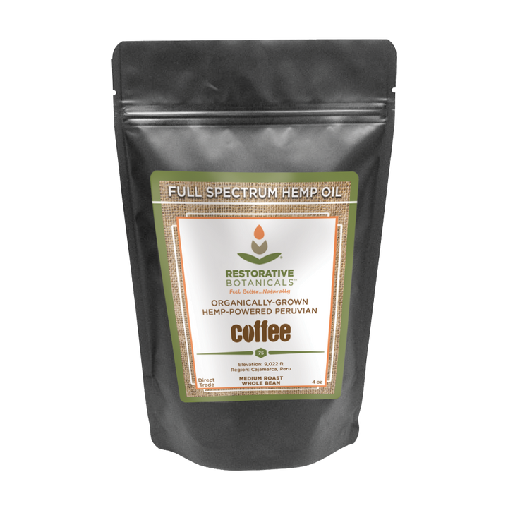 Whole Bean Peruvian Coffee Premium Medium-Roast Infused with Whole Plant Colorado Hemp Extract!