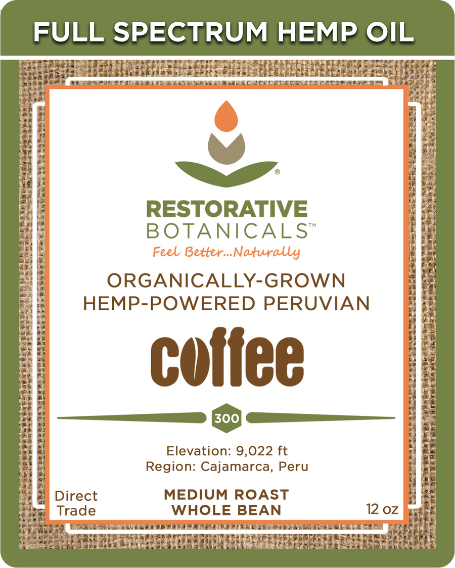 Whole Bean Peruvian Coffee - Premium Medium-Roast Infused with Whole Plant Colorado Hemp Extract!