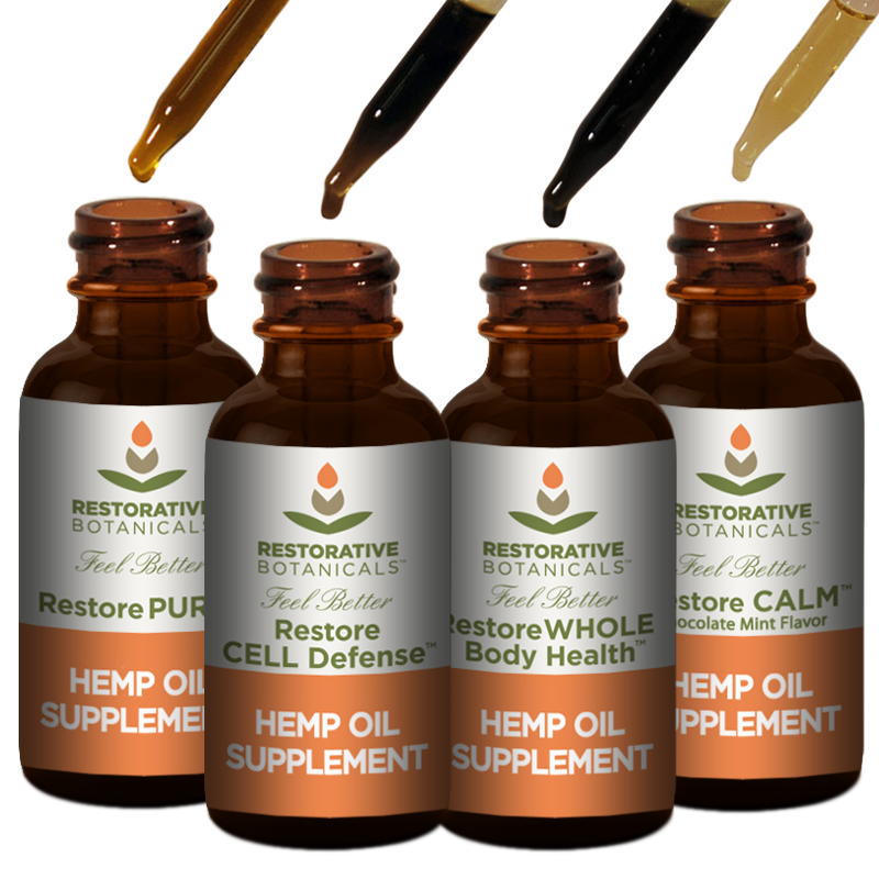 Restore SAMPLE Hemp OIl Supplement 4 Pack Droppers