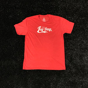 POWER IN MOTION Enjoy Leg Day Fitted Tee - Red/White