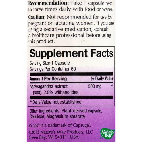 Nature's Way Ashwagandha Standardized - 60 Vegetarian Capsules