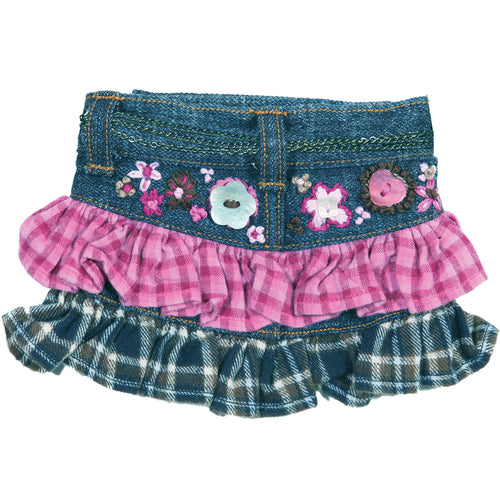 The Francine Denim Dog Skirt with Ruffles