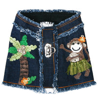 Lahaina Designer Collection - Hula Monkey Denim Harness Vest - Abigail Collection