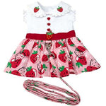 Strawberry Picnic Dog Dress with Matching Leash