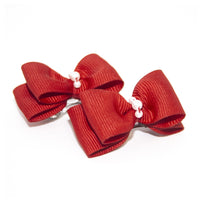 Red Dog Hair Bow Clips