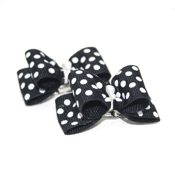 Black Polka Dot Hair Bows