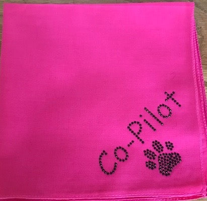 Co-Pilot Paw Print Bandana with BLACK STUDDED BLING!