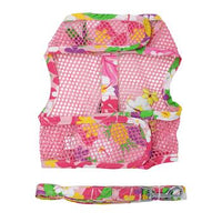 Cool Mesh Dog Harness with Leash - Pink Hawaiian Floral