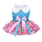 Pink and Blue Plumeria Floral Dog Dress