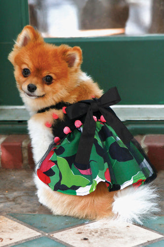 Sasha Floral with Pom Poms Dog Dress - The Abigail Collection