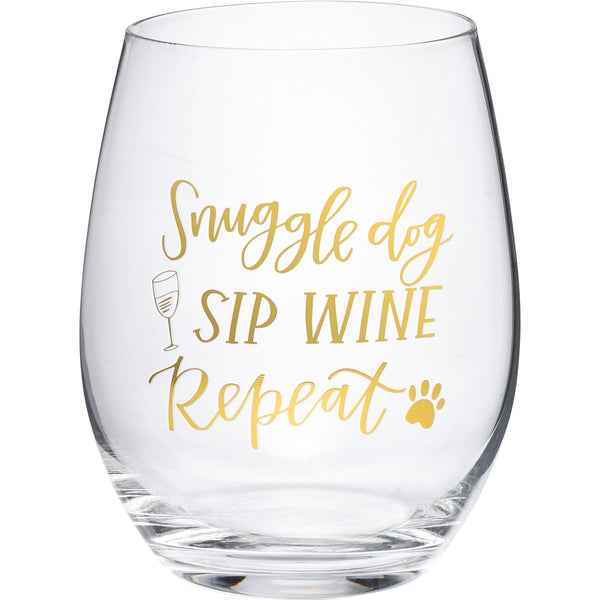 Snuggle Dog, Sip Wine, Repeat, Wine Glass