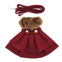 Wool Fur-Trimmed Dog Harness Coat - Burgandy