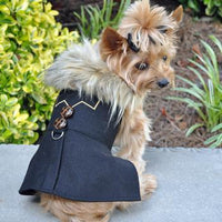 Wool Fur Trimmed Dog Harness Coat - Chevron