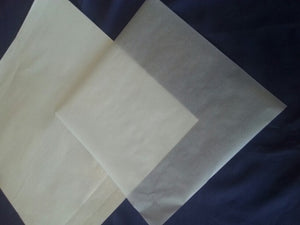 "Soft Cheese Wrapping Paper 14"" x 14"", 25 sheets, duo layer white cello exterior, parchment interior, breathable"