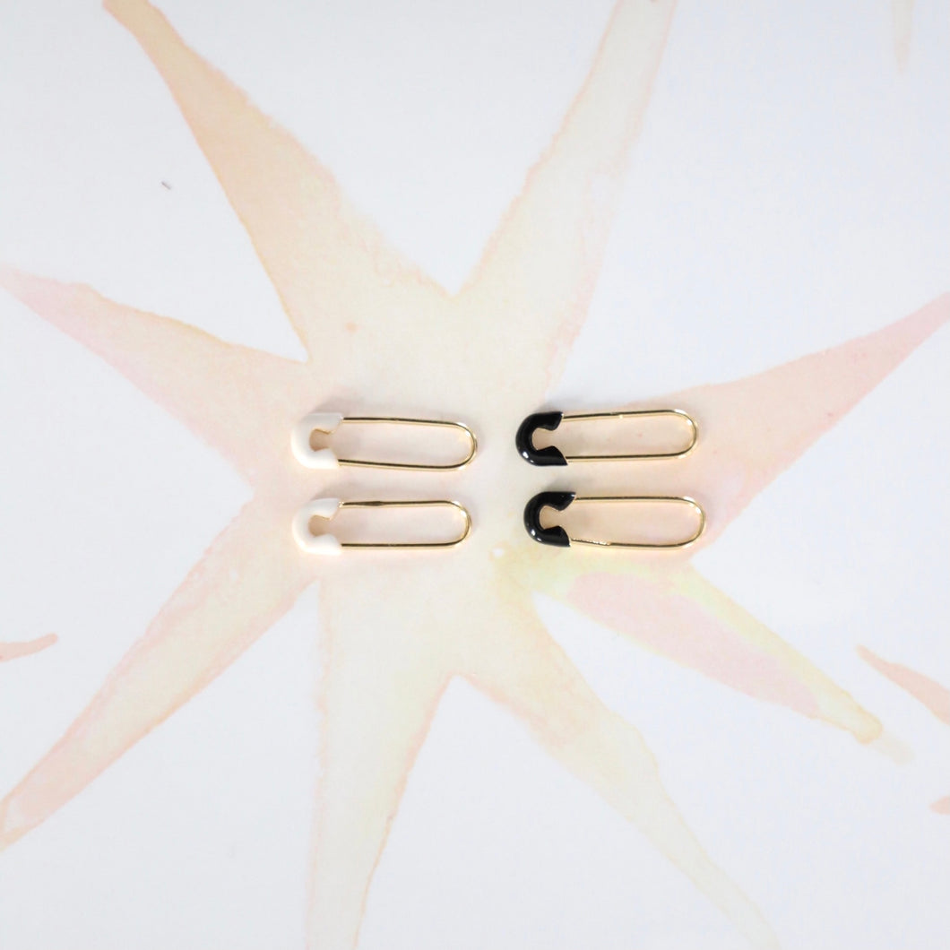 White Enamel and Gold Safety Pin Earrings