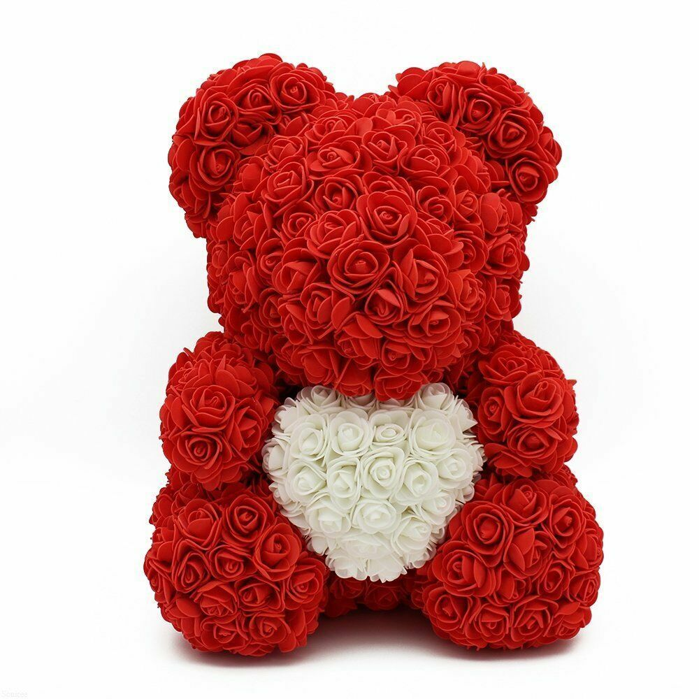 Rose Heart Bear Red With White Heart Rose Petal Pets
