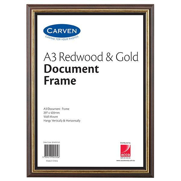 ACCO A3 Document Frame Redwood & Gold