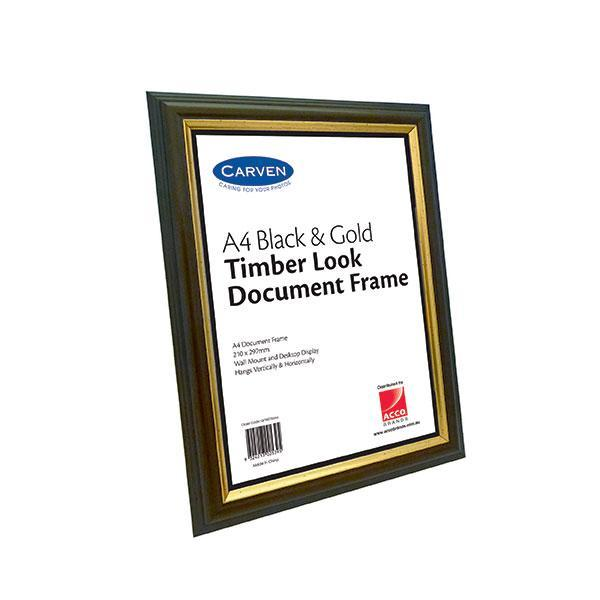 ACCO A4 Document Frame Black & Gold