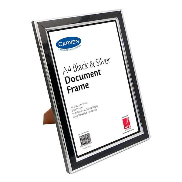 ACCO A4 Document Frame Black & Silver