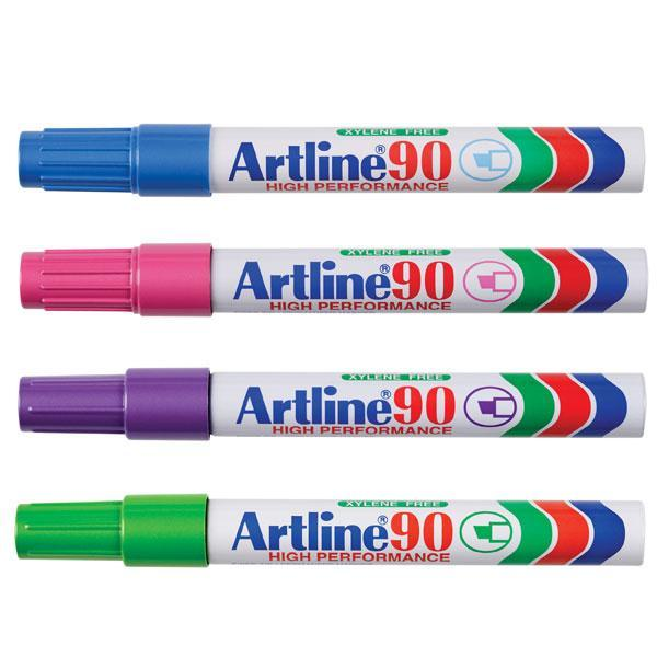 ACCO Artline 90 Bright Colours Permanent Marker Chisel Tip 12's Pack