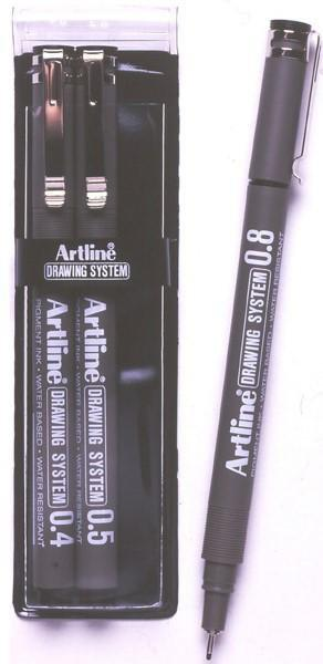 ACCO Artline Drawing System Pen 3 Nib Sizes - 4, 5, 8mm Black