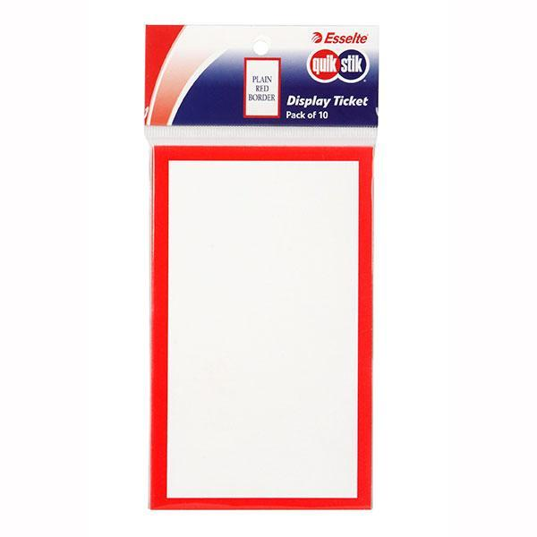 ACCO QuikStik Display Tickets Red Border 75 x 125mm x 10's