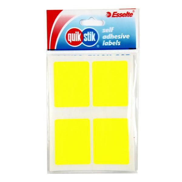 ACCO Quikstik Rectangle Fluro Yellow Labels 35 x 45mm