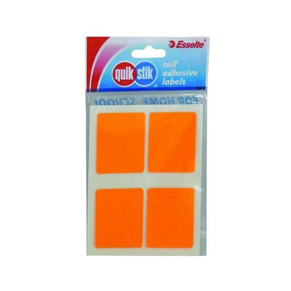 ACCO Quikstik Rectangular Fluro Orange Labels 35 x 45mm