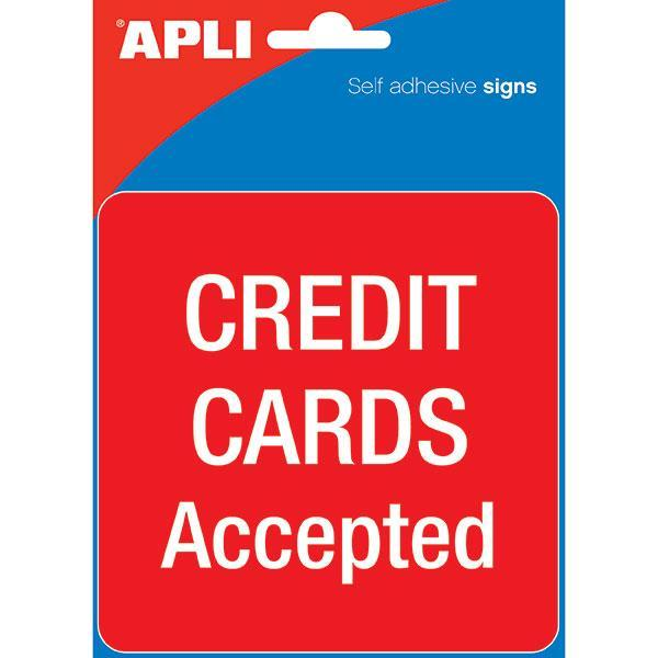 ACCO Self Adhesive Sign - Credit Cards Accepted