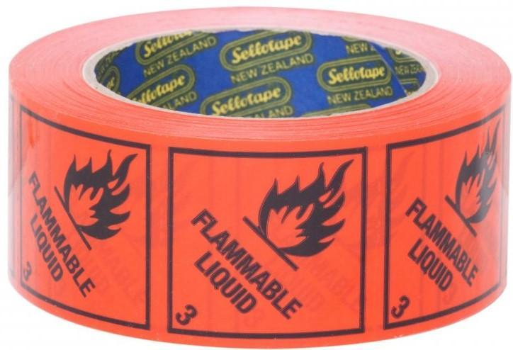 Acme FLAMMABLE LIQUID 3 Printed Rippable Sellotape Label 48mm x 50mm