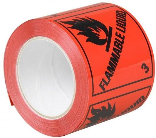 Acme FLAMMABLE LIQUID 3 Printed Rippable Sellotape Label 96mm x 100mm