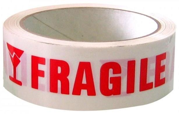 Acme FRAGILE Printed Rippable Sellotape Label 36mm x 125mm