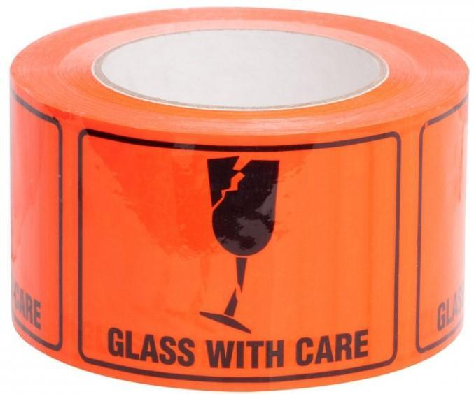 Acme GLASS WITH CARE Printed Rippable Sellotape Label 72mm x 100mm