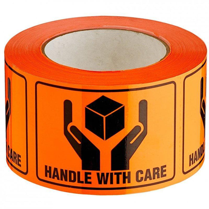 Acme HANDLE WITH CARE Printed Rippable Sellotape Label 72mm x 100mm